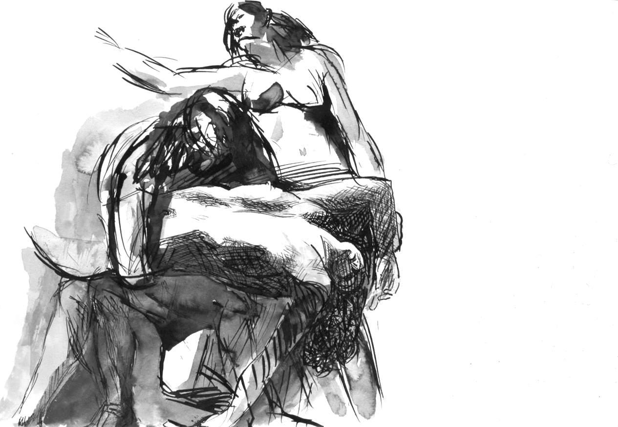 Pentesilea soccorsa da due amazzoni