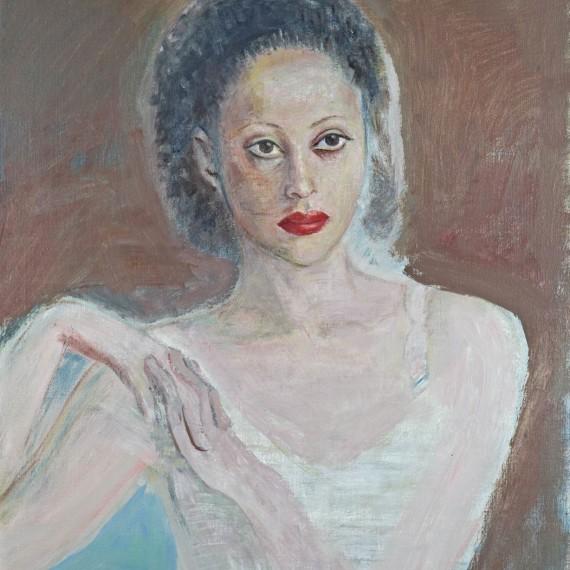 Ahlam-col-rossetto,-2008,-olio-su-tela,-60x80