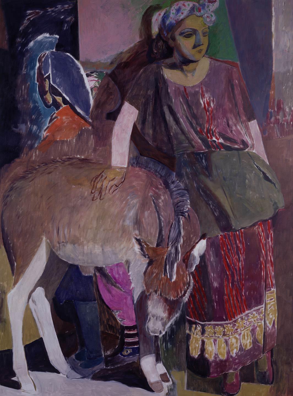 Due ragazze marocchine con un asinello
