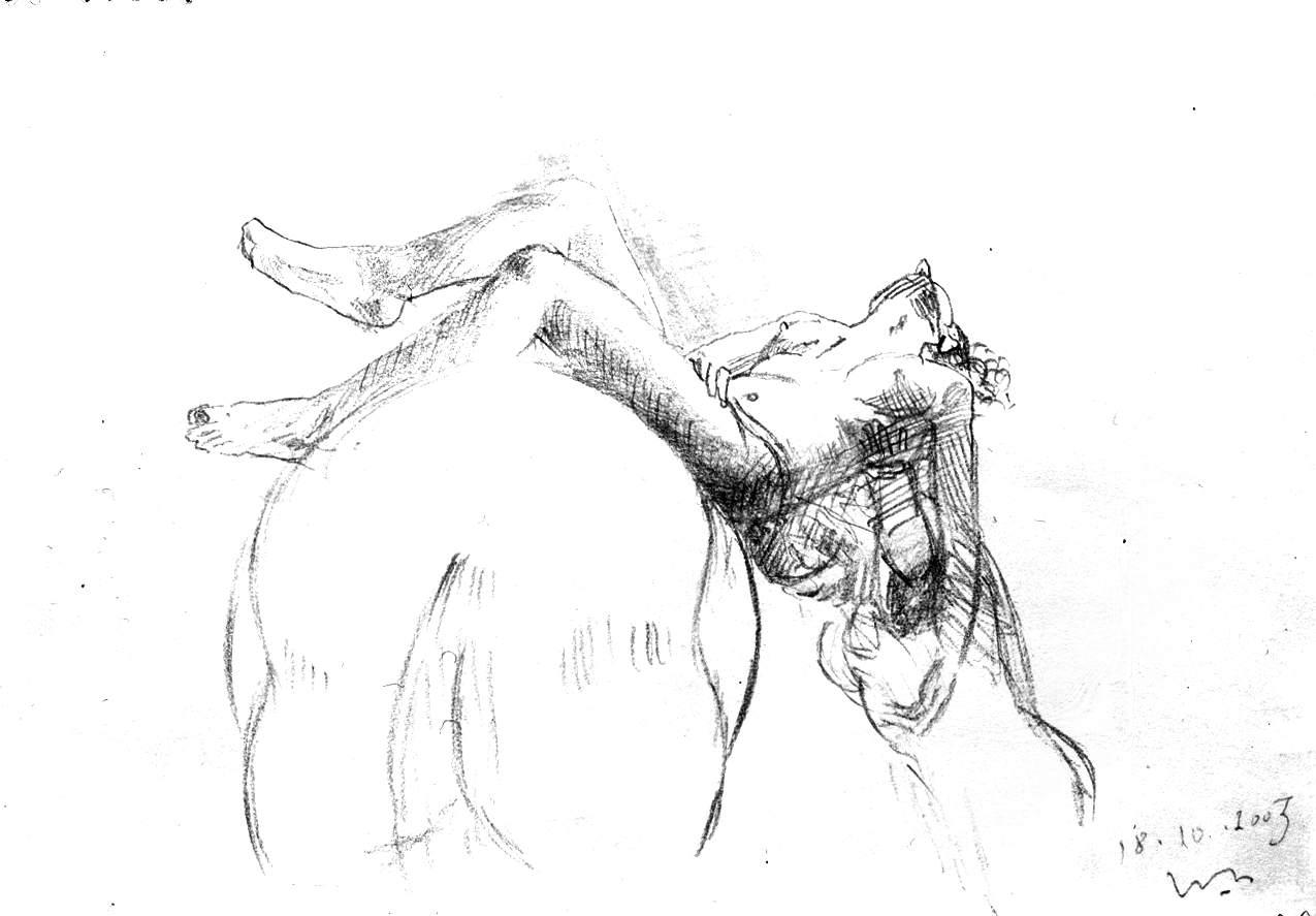 Pentesilea morente issata sul cavallo