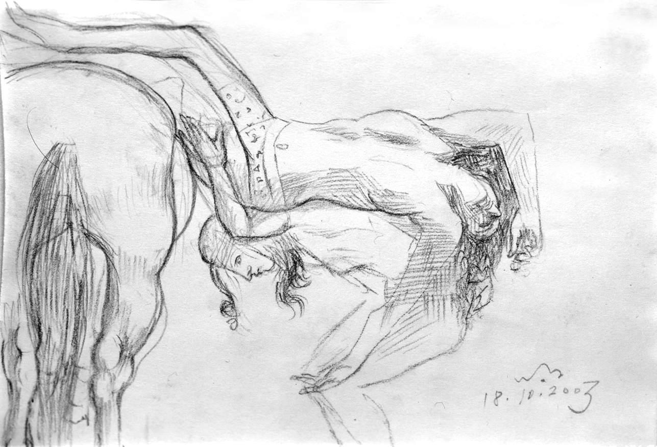 Un amazzone spinge il corpo di Pentesilea sul cavallo