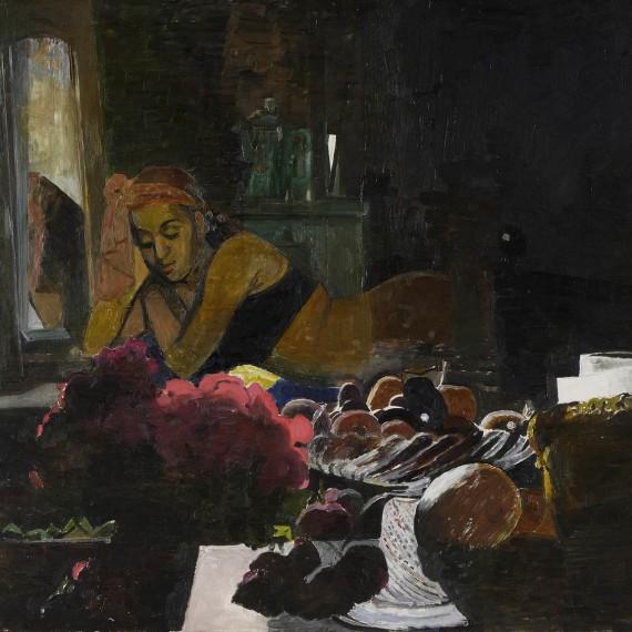 donna-sdraiata-con-frutta,-2006-olio-su-tela,-80x98-