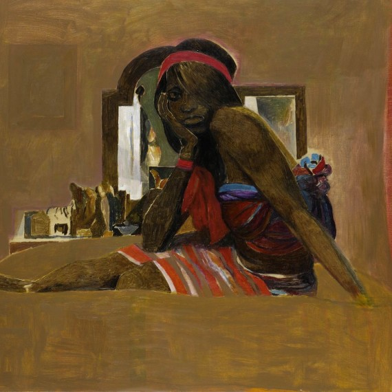 donna-seduta-banda-rossa,-2007,-olio-su-tela,-81x100