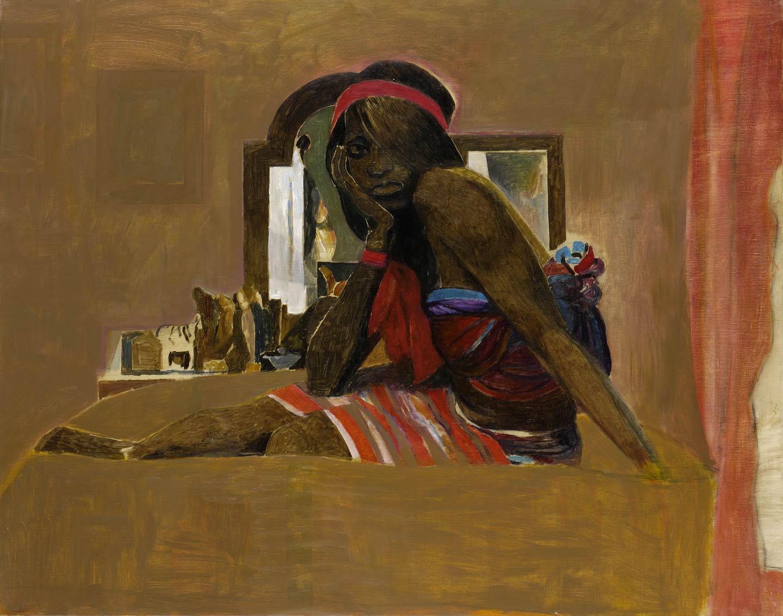 Donna seduta, banda rossa
