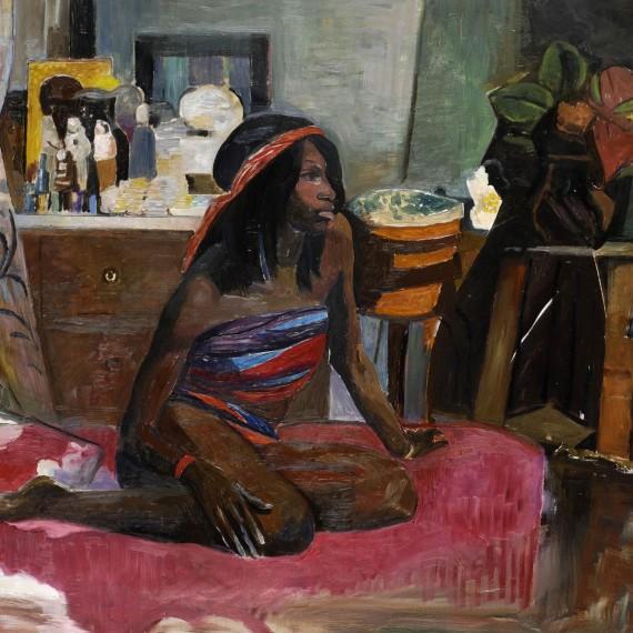 donna-seduta-su-letto-rosso,-2007,-olio-su-tela,-81x100